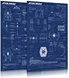 "Star Wars - Movie Poster Set (Imperial Fleet & Rebel Alliance Fleet Blueprints / Schematics) (Size: 24"" x 36"")"