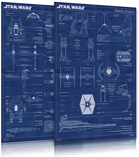 Star Wars - Movie Poster Set (Imperial Fleet & Rebel Alliance Fleet Blueprints / Schematics) (Size: 24