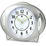Analog Alarm Clock Kids Clock Small Travel Loud Alarm Clock Kitchen Clocks Non Ticking with Night Light Easy to Set Battery Operated Quartz for Bedrooms Desk (Power Clock)
