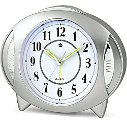 Analog Alarm Clock Kids Clock Small Travel Loud Alarm Clock Kitchen Clocks Non Ticking with Night light Easy to Set Battery Operated Quartz for Bedrooms Desk