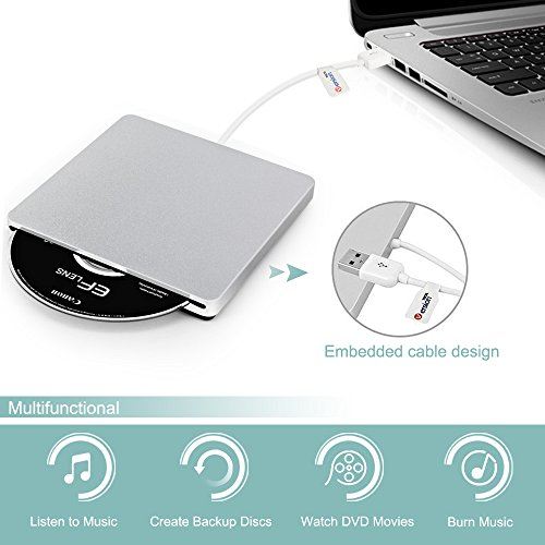 External CD DVD Drive, VersionTECH. USB Ultra-slim Portable CD DVD RW/DVD CD ROM Burner/Writer/ Superdrive with High Speed Data Transfer for Mac Macbook Pro/Air iMac Laptop by VersionTECH. (Image #2)