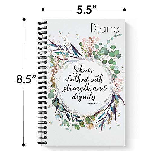 "Clothed With Strength Personalized Notebook/Journal, Laminated Soft Cover, 120 College Ruled or Checklist pages, lay flat wire-o spiral. Pick your size, 8.5"" x 11"", 5.5"" x 8.5"". Made in the USA Photo #4"