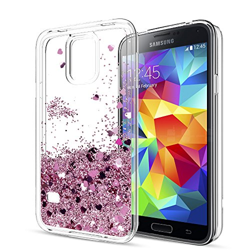 S5 Case,Galaxy S5 Case with HD Screen Protector for Girls Women,LeYi Cute Bling Shiny Glitter Moving Quicksand Liquid Clear TPU Protective Phone Cover Case for Samsung Galaxy S5 ZX Rose Gold