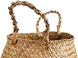 BlueMake Woven Seagrass Belly Basket with Handles