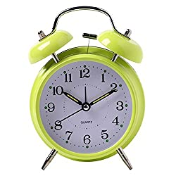 Yxaomite Twin Bell Alarm Clock 4 Home Decor Bedside Desk Clock Vintage Silent Loud Mute Quartz Analog Retro with Stereoscopic Dial Backlight Battery Operated Non-Ticking for Kids Bedroom (Green)
