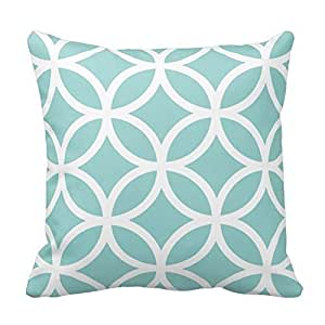 Light Teal and White Circle Pattern Throw Pillow Case Cushion Cover Square Decorative 18X18 Inches