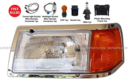 Headlight with Adjusters, Corner Lamp and Chrome Bezel - Driver Side (Fit: Peterbilt 385 & 375 Truck)
