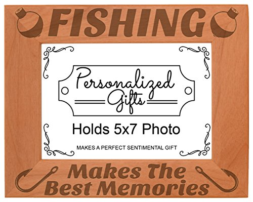 ThisWear Fish Photo Frame Fishing Makes The Best Memories Fish Gift Wood Engraved 5x7 Landscape Picture Frame - Fishing Photo Frames