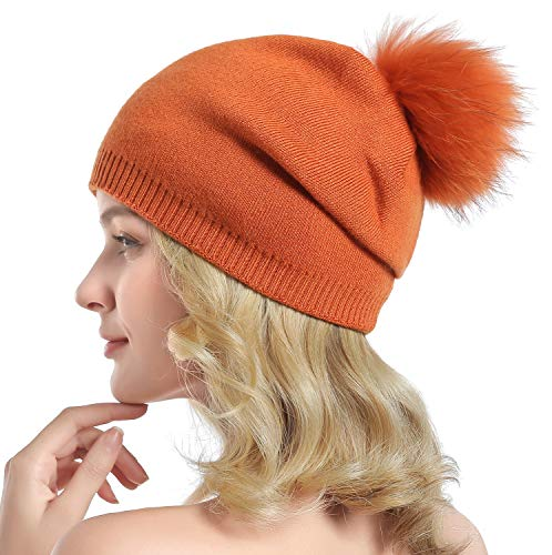 Women Knit Wool Beanie - Winter Solid Cashmere Ski Hats Real Raccoon Fur Pom Pom (Orange)