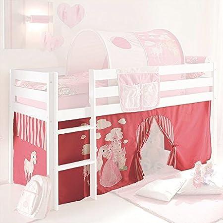 Camerette A Soppalco Rosa.Tenda A 3 Pezzi 100 Cotone Principessa Rosa Bianco Incluso