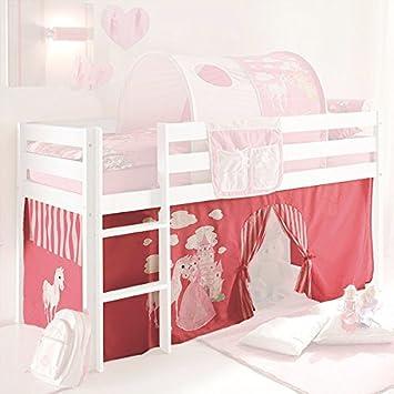 Amazon.de: Vorhang 3-teilig 100% Baumwolle Prinzessin pink weiß inkl ...