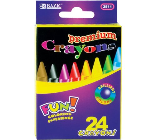 Bazic Premium Quality Crayon, 24 Colors (Case of 72) by Bazic