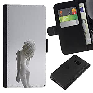 """A-type (Mujer Android"""") Colorida Impresión Funda Cuero Monedero Caja Bolsa Cubierta Caja Piel Card Slots Para HTC One M9"""