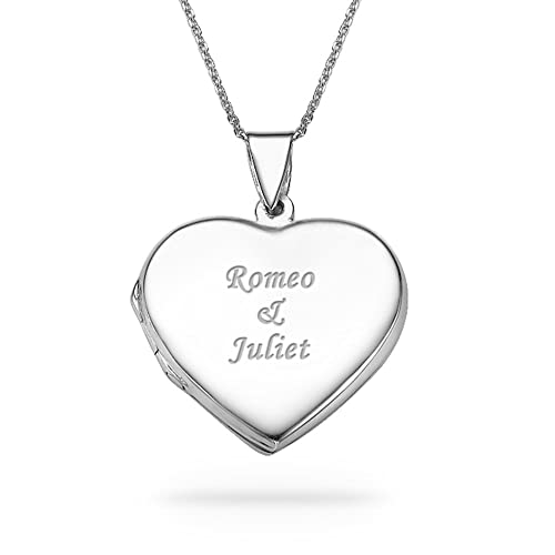 My Name Necklace Silver Personalized Heart Locket With Double Hearts With Engraved Names Custom Made