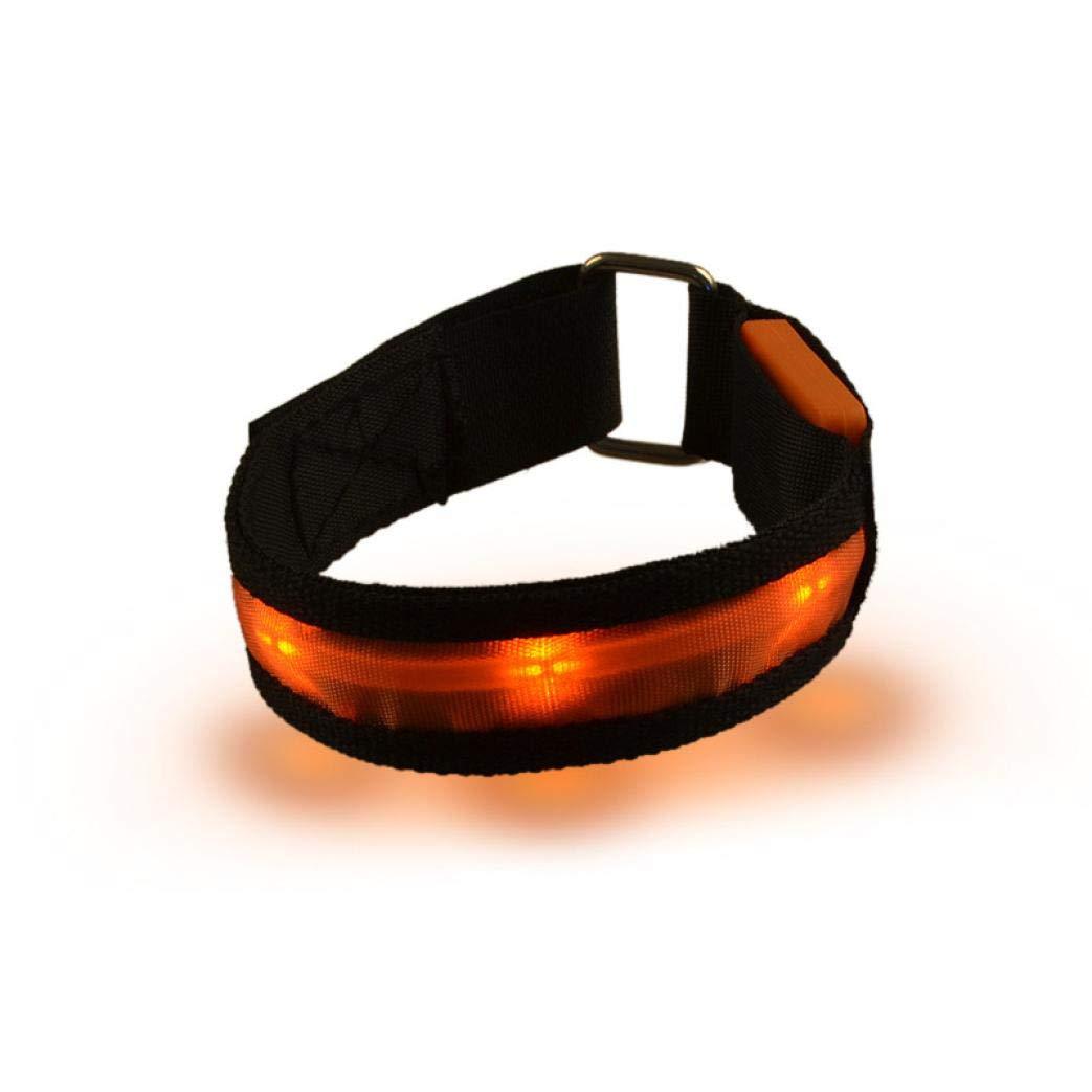 Glumes LED Armband, Glow in the Dark Led Slap Bracelets Event Wristband For Men& Women, Night Safety Lights For Running, Jogging, Cycling, Hiking (Orange)
