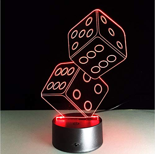 tfqddp 3D Led USB Lamp Magician Decoration Texas Hold Dice Poker Spades Playing Cards 7 Colors Changing Night Light Xmas Gifts ()