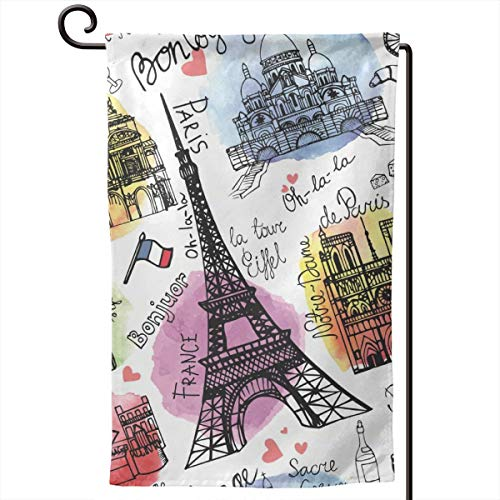 ACHOGI Paris Eiffel Tower Garden Flag Outdoor Yard Decorative Flags Double Sided Priting for All Seasons & Holidays- 12.5 X 18 in