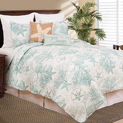 MISC 3 Piece Teal White Beach Theme Quilt King Set Tan Ivory Tropical Pattern Bedding Sea Shell Themed Starfish Coastal Nautical Lake House Cottage Coral Reefs Ocean Water, ()