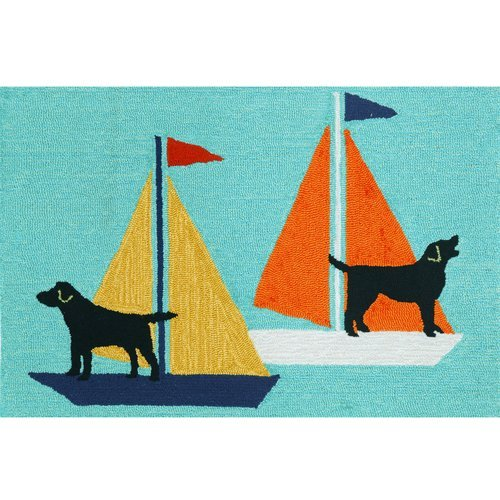 Rug Bay Outdoor Blue (Breakwater Bay Walton Sailing Dog Hand-Tufted Blue Indoor/Outdoor Area Rug)