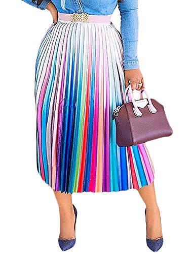Womens Color Block Graffiti Letter Print Cartton Pleated A Line Swing Maxi Midi Skirt Dress Stripe XL