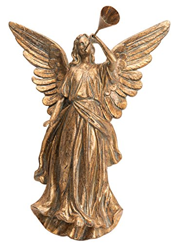 One Holiday Lane Elegant Antique Gold Angel Blowing Horn Wall Hanging Christmas Decoration (Facing Right)