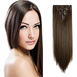 "Onedor 24"" Straight Synthetic Clip in Hair Extensions. 7 individual pieces for multiple styles.140g (8#-medium Ash Brown)"