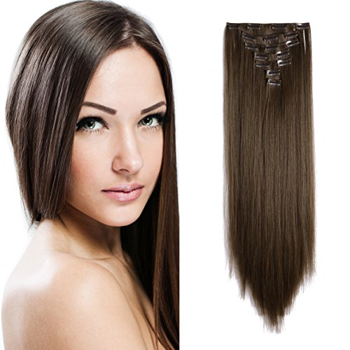 Onedor 24 Straight Synthetic Clip in Hair Extensions. 7 individual pieces for multiple styles.140g (8#-medium Ash Brown)
