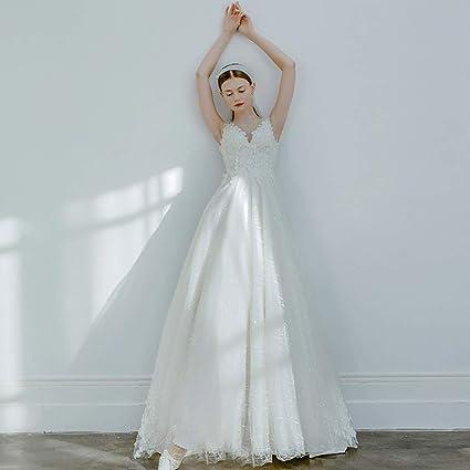 Amazon.com: Roroz Vestido de novia de encaje para mujer ...