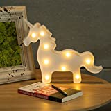 CO-Z Unicorn Light, Unicorn Shaped Night Lamp for Girls Kids Room Decor, Gift Ideas for Birthday Christmas Party, Decorative Light for Wall Decoration Bedside Table, White Marquee Letter Lights