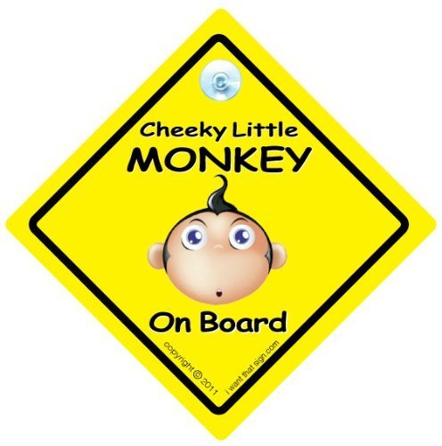 Cheeky Little Monkey On Board Car Sign, Yellow, Cheeky Monkey On Board Car Sign, Baby on Board Sign Style, baby on board, baby sign, baby car sign, decal, Novelty Car Sign, Bumper Sticker Style, Funny Car Signs iwantthatsign.com CheekyMONKYELLOW