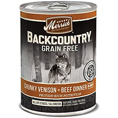 Merrick Backcountry Chunky Venison + Beef In Gravy Grain Free Wet Dog Food, Case Of 12, 12.7 Oz.