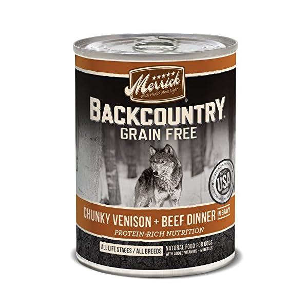 Merrick Backcountry Chunky Venison + Beef In Gravy Grain Free Wet Dog Food, Case Of 12, 12.7 Oz.