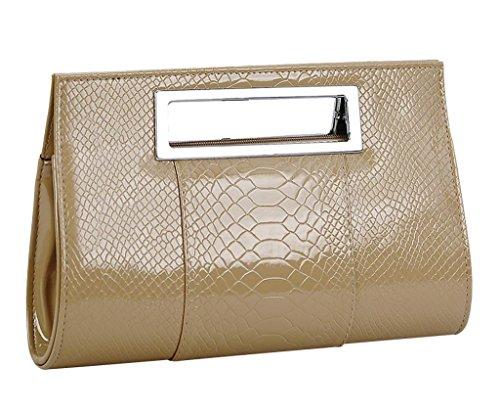 YMB Women's Elegant Handbag Crocodile Print Purse Evening Party Shoulder Bag Dark Khaki Leopard Print Hobo Handbag