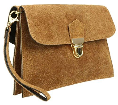 Girly Girly Front HandBags Clutch Double Suede Genuine Bag Tan HandBags w1qAw6Tg4