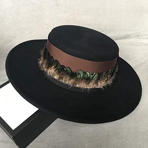 VAXT Steer Wool Men Women Fedora Hat With Feather Broad Brim Black Top Hat Pork Pie Hat Fascinator Hat