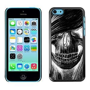 Shell-Star Arte & diseño plástico duro Fundas Cover Cubre Hard Case Cover para Apple iPhone 5C ( Skull Girl Hair Grunge Music Death )