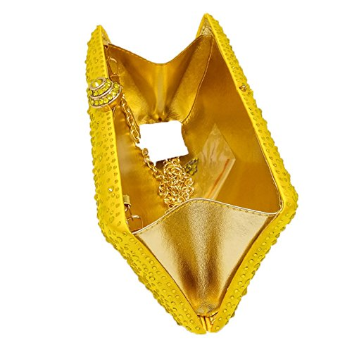 MSFS Clutch Rhinestone Dress Wedding Shoulder Evening Yellow Party Noble Pillow Ladies Handbag nHqnpU