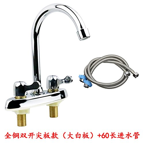 60 Long Inlet Pipe With Sharp Plate (Large Whiteboard) JWLT All copper washbasin faucet double double hole three hole double closed hot and cold wash basin kitchen sink dragon dual control,Full copper basin double open handwheel60 long inlet pipe