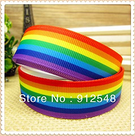 FunnyCraft 10 Yards Wholesale Rainbow Stripes Printed Grosgrain Ribbon Hairbow Diy Party Decoration 10 Yards 7/8''(22Mm)