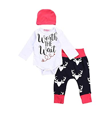 2d93616dd Taylorean Newborn Infant Baby Boys Girls Christmas Elk Letter Print ...