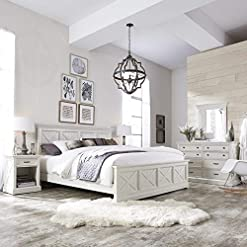 Bedroom X-Detail King Bed Nightstand and Chest with Dresser Mirror White Farmhouse Mahogany Veneer Wood 4 Piece Rubbed Weathered farmhouse bedroom sets