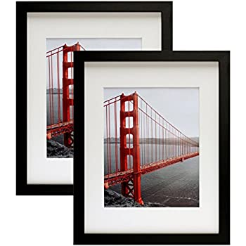 Frametory, Two 11x14 Contemporary Black Picture Frames - Wide Molding - Wall Mounting Ready (2 pc, 11x14)