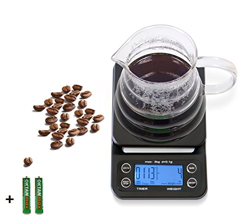 HuiSmart Digital Coffee Scale with Timer and Tare Function 0.1g, Multifunctional Kitchen Scales Food Scales 6.6lb/3kg, LCD W/Blue Backlit,Batteries Included,Black (Timer Coffee)