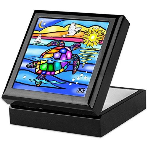 Tile Turtle Box - CafePress Sea Turtle #8 Keepsake Box, Finished Hardwood Jewelry Box, Velvet Lined Memento Box