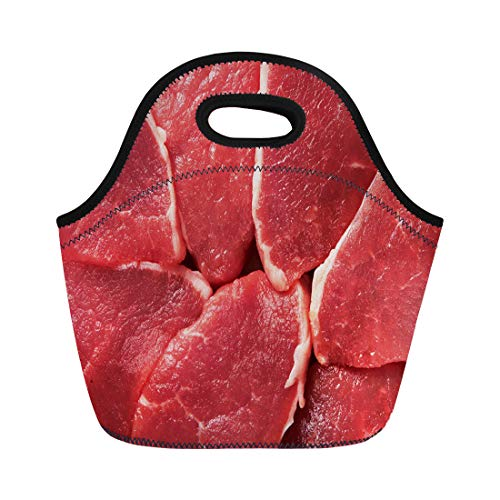 (Semtomn Lunch Bags Market Red Beef Piece of Fresh Raw Meat Cow Neoprene Lunch Bag Lunchbox Tote Bag Portable Picnic Bag Cooler Bag)