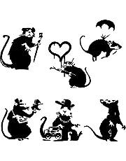 Banksy Large Collection Of Rats Versie 2 - Set van 6 Ratten muursticker