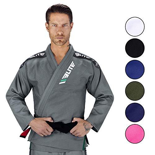 Elite Sports BJJ GI for Men IBJJF Kimono BJJ Jiujitsu GIS W/Preshrunk Fabric & Free Belt (Gray, A1)