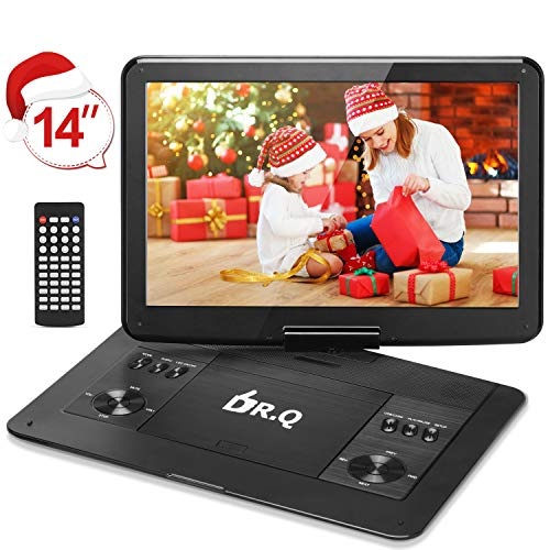 "【Upgraded】 DR.Q 14.1"" Portable DVD Player with 5 Hours Rechargeable Battery, 1280×800 HD Swivel Screen, Remote Control, 5.9ft Car Adapter, Supports SD Card, USB Port and Multiple Disc Formats-Black"