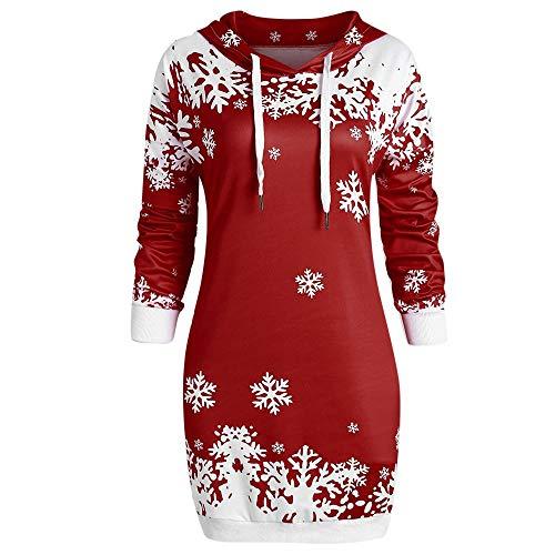 Xinantime Women Snowflake Printed Long Tops Blouse Merry Christmas Costume Hooded Sweatshirt Blouse Hoodie Jumper ()