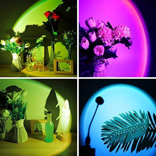 Mini Sunset Projection Lamp,2021 New Upgrade 7 Colors Mood Lighting Lamp,360 Degree Rotation Network Red Light, Modern Floor Stand Night Light for Living Room Bedroom Decor
